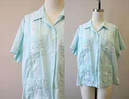 1980s Haband Womens Mint Guayabera Shirt