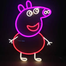 Peppa Light Animated Led Neon Light Open Sign Peppa Pig Shaped Night