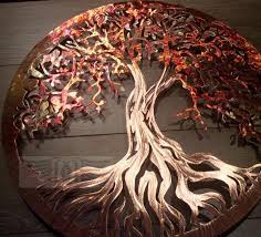 copper tree metal wall art