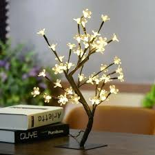 crystal cherry blossom led tree light night lights table lamp coration lighted led tree lamp