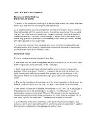 Server Responsibilities Resume Beautiful Waiter Job Description