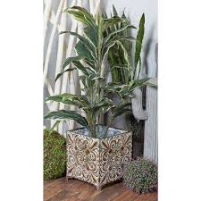gray iron botanical inspired square planters with bronze accents set of 3