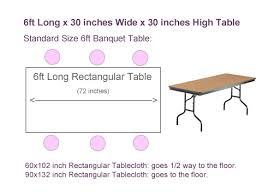 6ft x 30 inch rectangular table sizing chart