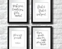Art for bathroom Canvas Bathroom Art Salesale Funny Bathroom Printable Art Set Of 4 Instant Download Art Wash Brush Floss Flush Watercolor Bathroom Printable Etsy Printable Wall Art Bathroom Etsy