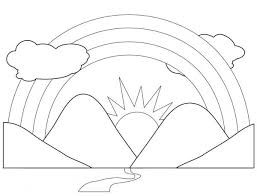 Small Picture A Scenic View of Rainbow Behind the Mountains Coloring Page
