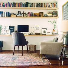 wall shelves office. a cozy modern home office with floating shelves and desk that go along the whole wall d