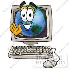 picture of a computer clip art graphic of a world globe cartoon character waving from