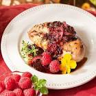 baked chicken with special raspberry sauce