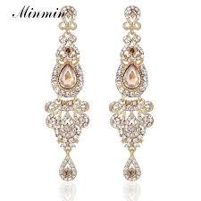 2018 champagne crystal long dangle earrings luxury bridal wedding big chandelier pendant earrings jewelry for women eh162 from yychen 17 07 dhgate com