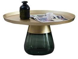 prudence green glass metal coffee table
