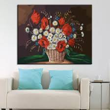 oil painting by numbers diy drawing kits coloring small white daisies red flowers pictures on canvas wall art decor framed craft on framed wall art uk with shop framed canvas white flower art painting uk framed canvas