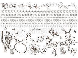 イラスト手書きライン線画動物かわいい挿絵イラスト No 488332無料