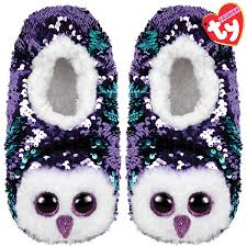 Beanie Boo Slippers Size Chart Moonlight Owl Reversible Sequin Slippers S M L