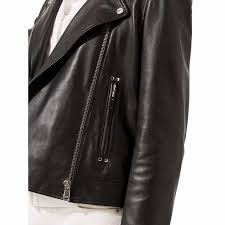 lovelyjigsaw clean leather biker jacket black for women jigsaw womens jackets with free at johnlewis com