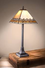 chevron cream amber clear mission tiffany table lamp 23 h