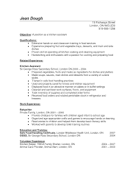 resume helper kitchen