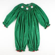 Stellybelly Size Chart Smocked Santa Face Green Corduroy Long Bubble