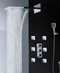 bathroom rain shower ideas. Fantastic Shower Set Combo With Freestanding Also Cool Square Ceiling Rain Heads As Well Chrome Handle Panelling In Contemporary Walk Bathroom Ideas T