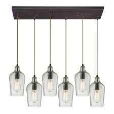 elk 10331 6rc clr hammered glass modern oil rubbed bronze multi drop ceiling light loading zoom