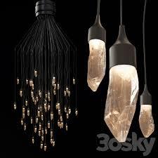 3d models pendant light rock crystal