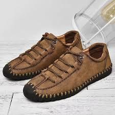 Menico <b>Large Size Men</b> Hand Stitching Hook Loop <b>Leather</b> Ankle ...