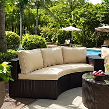 refundable outdoor furniture round sectional crosley catalina wicker patio sofa with sand crosley patio furniture e3