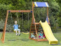 swing and slide wooden garden swing