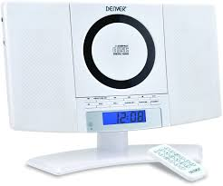 denver mc 5220 white cd player wall mountable system with fm radio clock alarm function and remote control