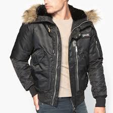 <b>Блузон</b> короткий с капюшоном, зимняя модель черный Schott ...
