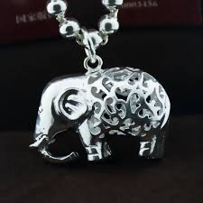 get ations s990 fine silver silver jewelry sterling silver pendants female baby elephant elephant pendant necklace accessories hollow