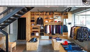 Suit Display Stands Creative Retail Store Design Using OSB and Tile Design Milk 48