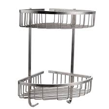 kes bathroom triangular tub and shower caddy 2 tier wall mount sus304 stainless steel brushed finish