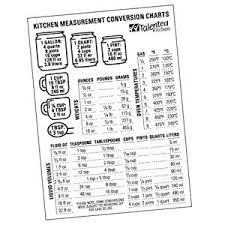 American Cooking Measures Conversion Chart