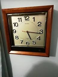 seiko brown wooden square wall clock