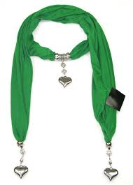3 green heart pendant scarf latest