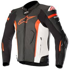 alpinestars missile leather jacket black white fluo red thumb 0