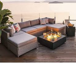 Cosiest 8 Piece Fire Pit Table Outdoor Furniture Sofa Gray Wicker Cushion Sectional W 35 Inch Square Graphite Fire Heater 50 000 Btu W Wind Guard And Tank Outside 20 Gallon For Garden Pool Garden
