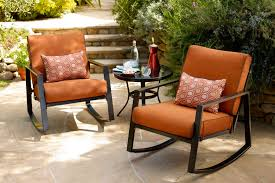 patio furniture rocking chair fibreglass iron and birch material comfortable cushion metal frame all weather resistant