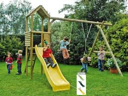 double swing and tower with slide wooden swing set