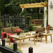 Small Picture Siena 5 Piece Natural Shorea Patio Conversation Set W Sunbrella