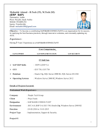 Sap Hana Resume Resume Templates