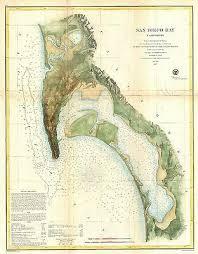 1857 Coastal Survey Map Nautical Chart San Diego Bay
