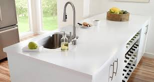 solid blue white monochromatic engineered quartz countertop