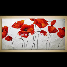 hand paited wall art red poppies oil painting decor on canvas art thick palette knife painting