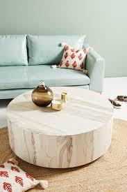 round swirled drum wooden coffee table