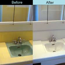 before and after photo tile grout sinks project