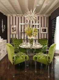 green dining room sets. green tufted chairs with lucite details. my god this room is fabulous. dining sets h