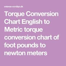 Newton Meters To Foot Pounds Conversion Chart Pinterest