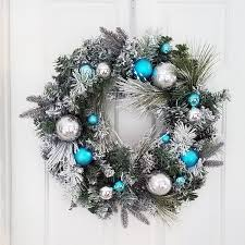 Wreath With Blue Lights Christmas Wreath Flocked Decorated Glitter Ball Ornaments