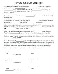 Sublease Form Vehicle Sublease Agreement Template Commercial Lease Word
